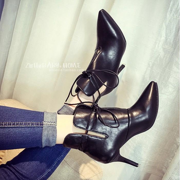 女神 款 高跟短靴 鏤空系帶女春秋單靴 尖頭細跟短筒及踝靴短靴短靴短靴短靴馬丁鞋