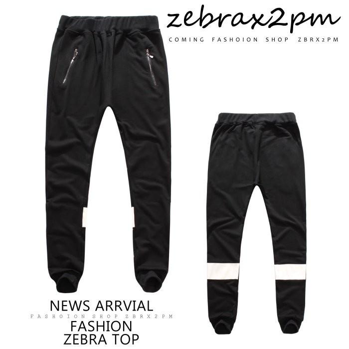 ZEBRA ~FK3723 ~素面皮革拼接 口袋拉鍊抽繩縮口棉長褲 390 元