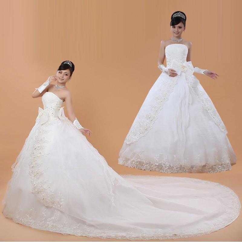定制n 大碼婚紗禮服新娘2017 秋 齊地婚紗拖尾顯瘦修身韓式長拖尾