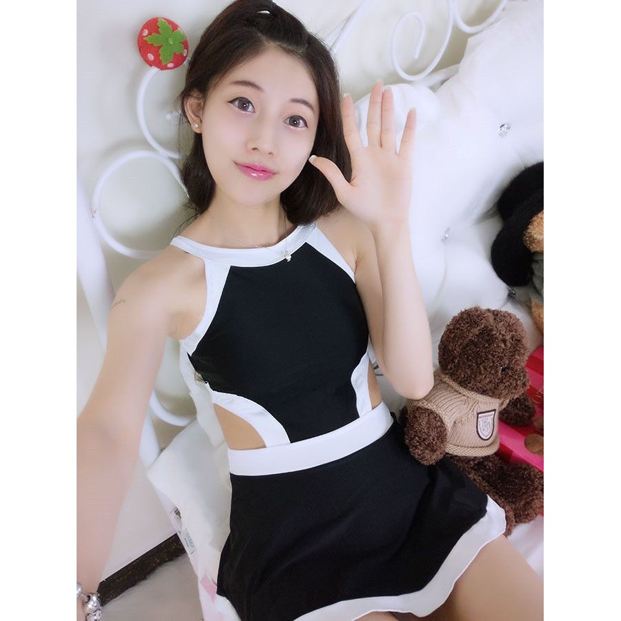 顯瘦超美連身泳裝比基尼泳衣遮肉溫泉 白色蓋屁股性感韓國bikini 鋼圈裙式黑白保守學生