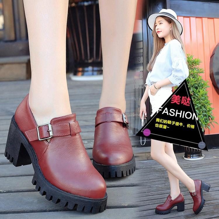 春夏 英倫學院風黑色中跟小皮鞋女鞋粗跟厚底防滑 學生單鞋