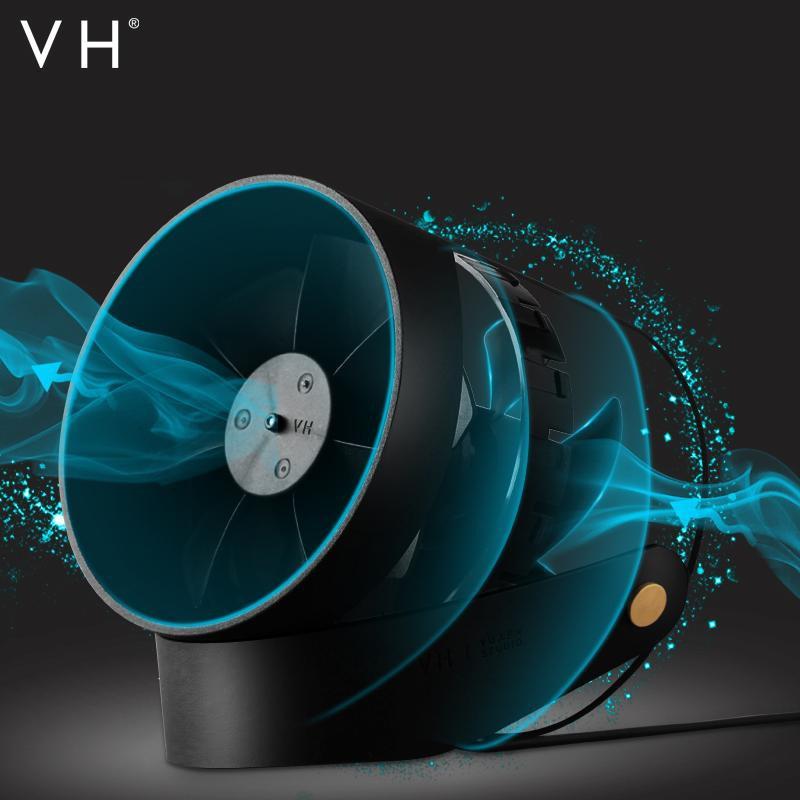 VH 羽柔風靜音智能USB 雙葉小風扇桌面小風扇(黑色)