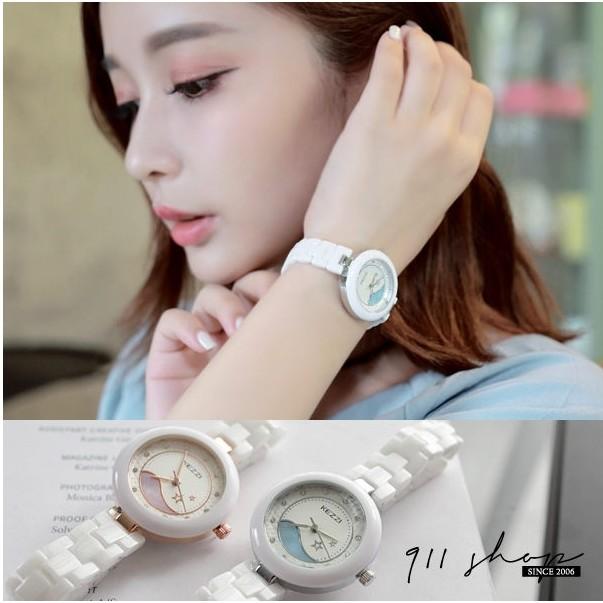 Maroon .港牌KEZZI ~浪漫星海貝紋陶瓷錶鏈帶手錶~ta550 ~~911 SH
