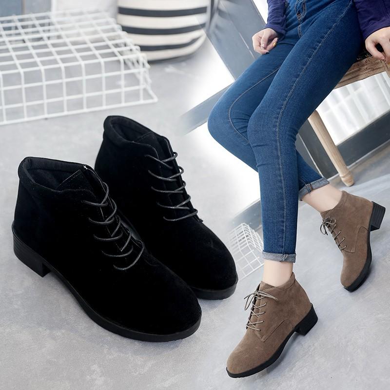 ~~ 風~~❤ 系帶磨砂皮真皮馬丁靴圓頭短靴單靴平底及踝靴女短筒