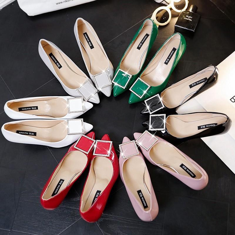 新品 黑色漆皮工作鞋單鞋細跟中跟淺口性感女鞋裸色尖頭高跟鞋婚鞋高跟鞋- -新品
