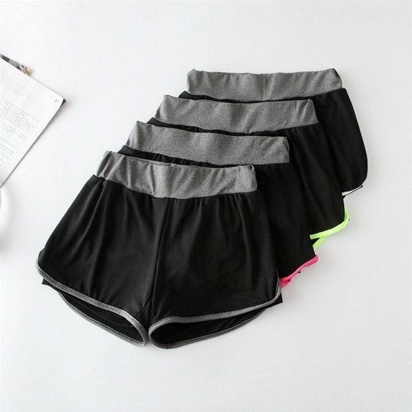 配色款女生防走光假兩件女 褲 短褲透氣速乾快乾排汗顯瘦瑜珈慢跑路跑重訓