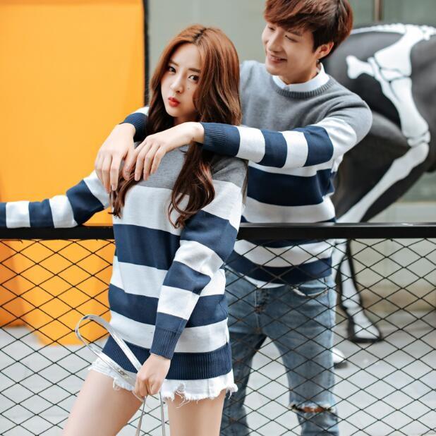 韓國情侶毛衣男女圓領套頭修身款針織衫