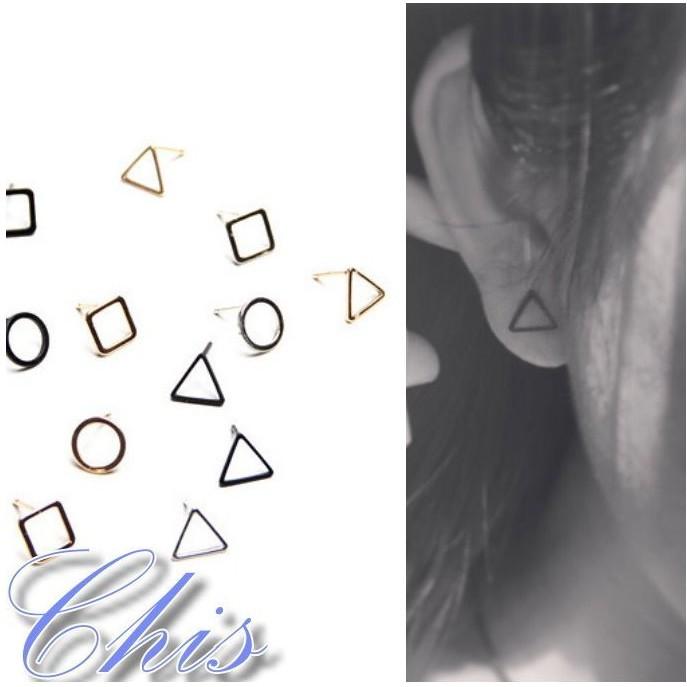 Chis Store ~幾何圖騰鏤空耳環~韓國 極簡風簡約圓形三角形正方形圓圈圈圓環耳針耳