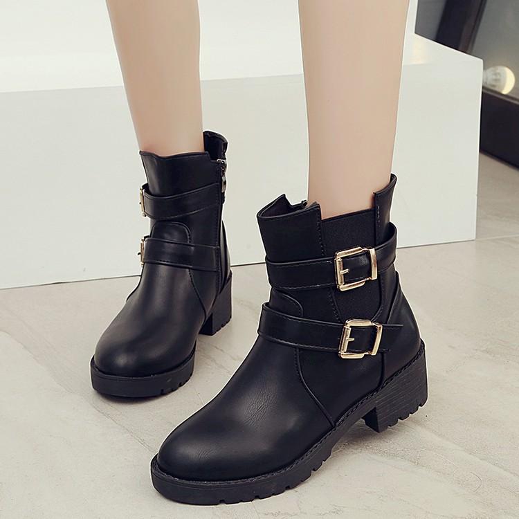 潮流美搭7 2016  圓頭低跟短靴英倫馬丁靴皮面騎士靴皮帶扣女靴子