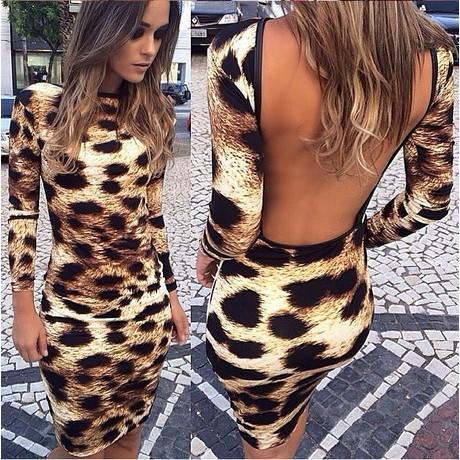 阿B 潮流 洋裝禮服連身裙修身顯瘦露背 風豹紋洋裝17116193