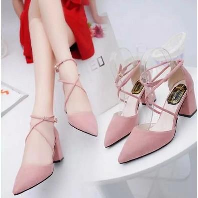包頭搭扣顯瘦尖頭粗跟高跟粉色透氣單鞋涼鞋百搭女鞋子潮