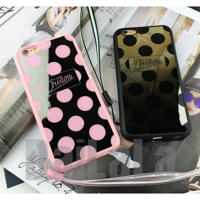 iphone 韓風鏡面點點送掛繩手機殼手機套保護套軟殼T241