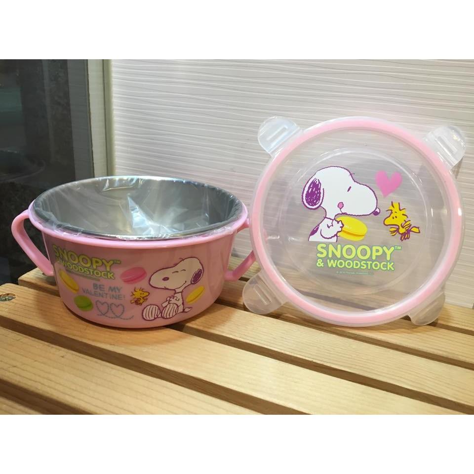 阿虎會社~B 184 ~ 史奴比不銹鋼口環隔熱碗兒童碗史努比粉紅色保鮮盒隔熱碗環保碗 製