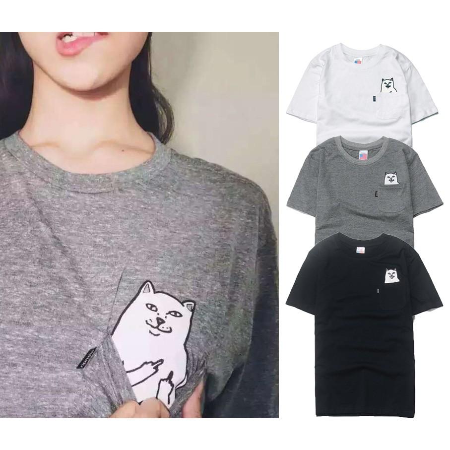 中指猫貼口袋素短TEE 全棉面料潮流短t 亞洲版型合身款高 男女不拘logo 純色T 恤
