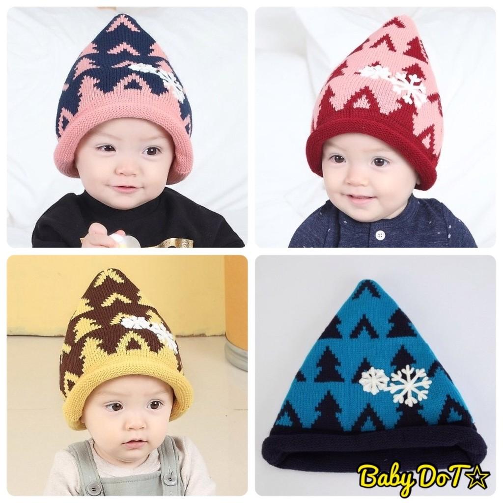 秋 ✨兒童毛線帽寶寶嬰幼兒聖誕樹毛帽套頭帽 帽立體尖尖帽帽子雪花外出 保暖帽 帽 反折帽子