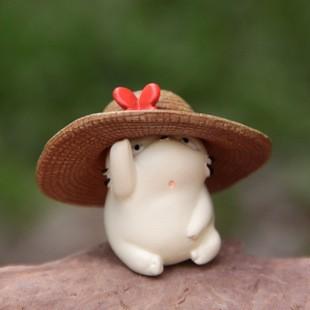水族微景觀飾品小號帶草帽肥貓公仔單入微景觀擺件多肉植物苔蘚生態瓶 景觀盆栽zakka 水族