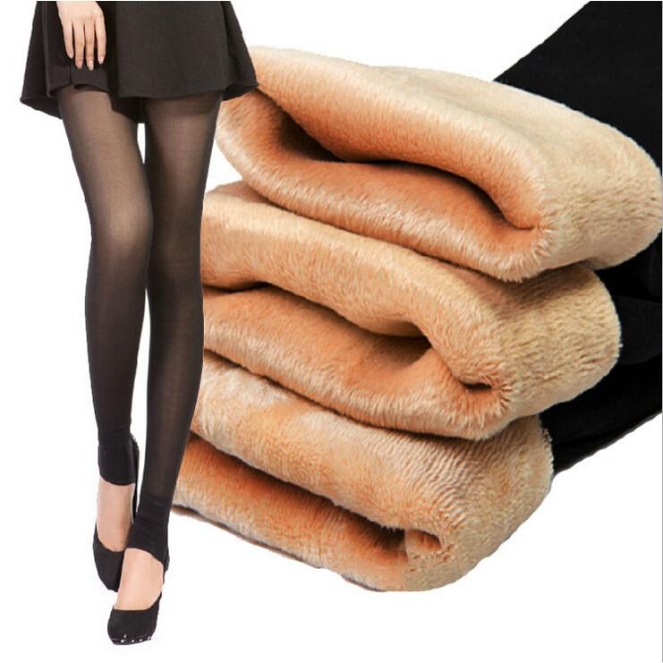 秋 防勾絲假透肉絲襪加絨加厚保暖黑肉色女踩腳薄款打底連褲襪