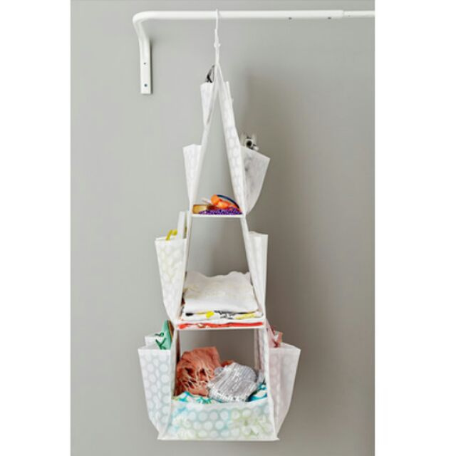 ikea 掛袋3 格衣物收納多格多層可掛式置物袋雜貨小物儲物籃便利白色