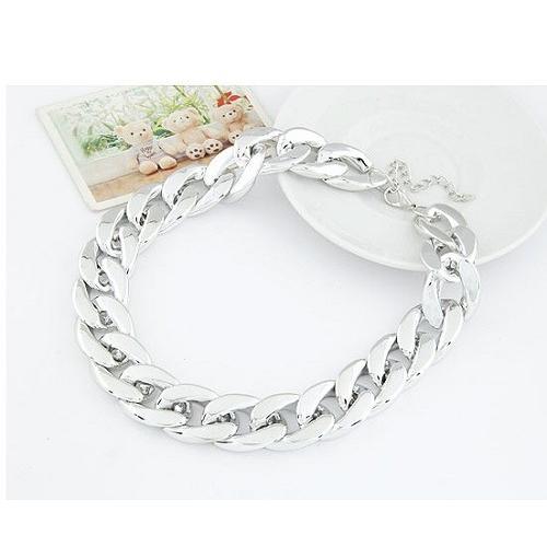 (銀色)走秀明星款 金屬誇張粗鏈條簡潔氣質項鍊