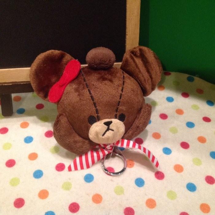 小熊學校line 熊咖啡熊可愛熊立體毛絨鑰匙包鑰匙扣零錢包鑰匙收納包