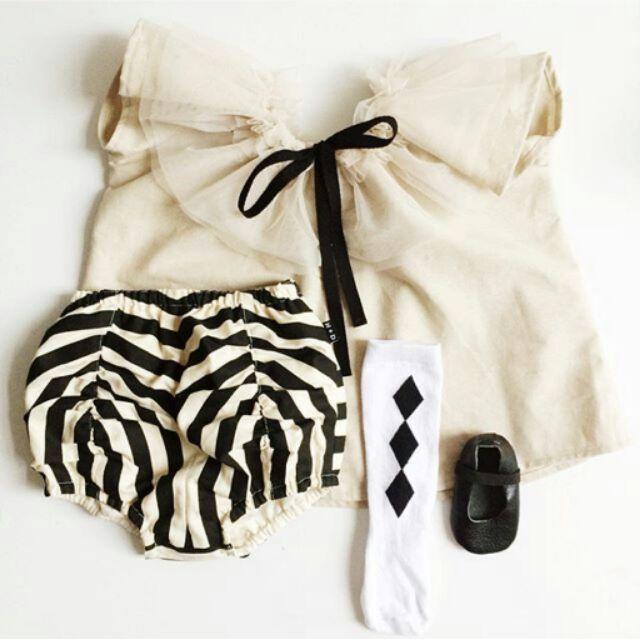 2016 夏女童純棉黑白條紋短褲杏色網紗短袖套裝