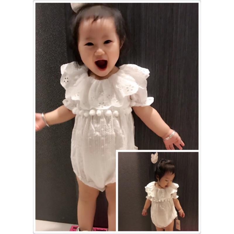 曈曈Baby INS 爆款2017 新品女童女寶寶提花蕾絲哈衣嬰兒純棉連體爬服