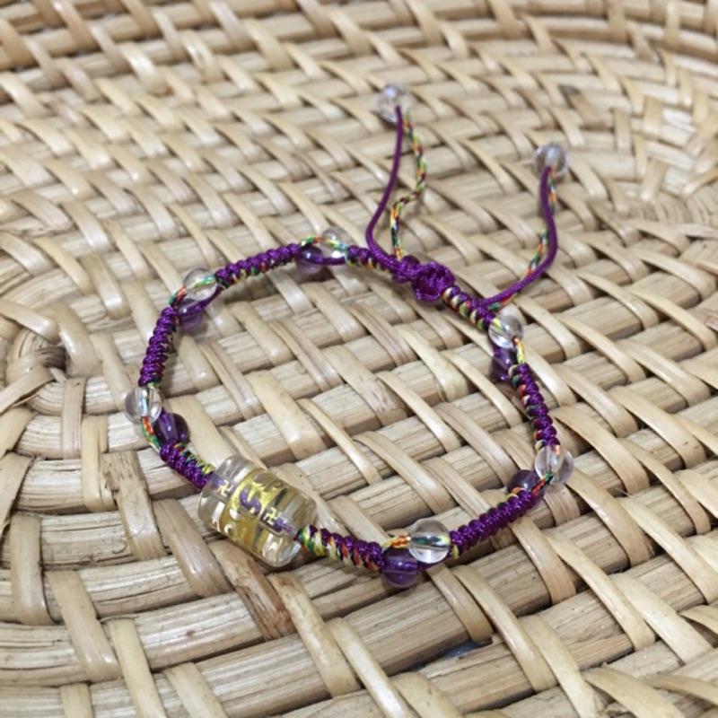 白水晶六字箴言紫水晶五色線紫色線雙色線純 編織手鍊