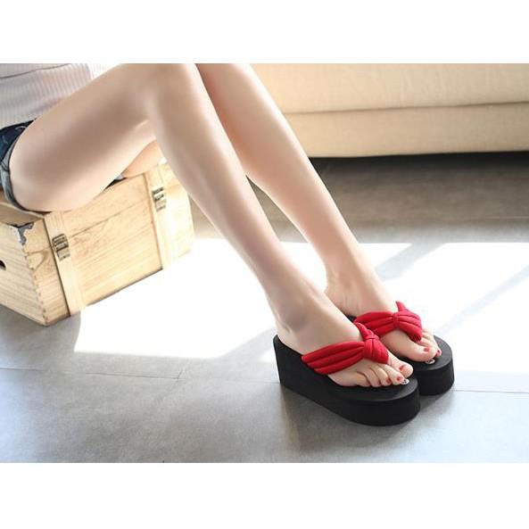 拖鞋女士 外穿高跟坡跟防滑夾腳涼拖潮室外 厚底人字拖i214