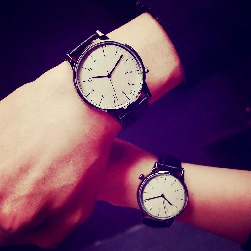 韓國ulzzang 情侶手表學生復古英倫風非機械真皮帶 簡約男女士