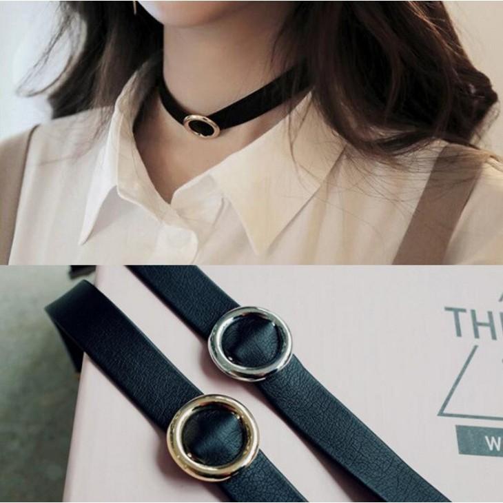 1992 韓國直送金屬圓環皮質頸鍊項鍊金色銀色