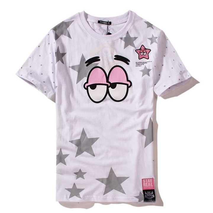 五月天STAYREAL X SPONGEBOB 派大星滿身星星男女裝白色短袖T 恤買三