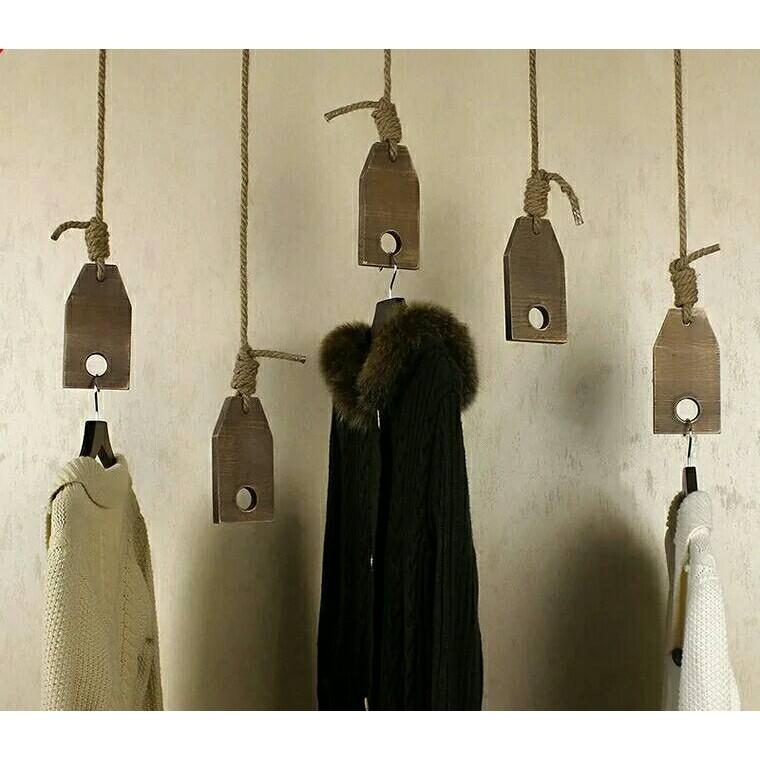 473 實木復古做舊服裝店展示架店鋪裝修實木麻繩吊環吊架