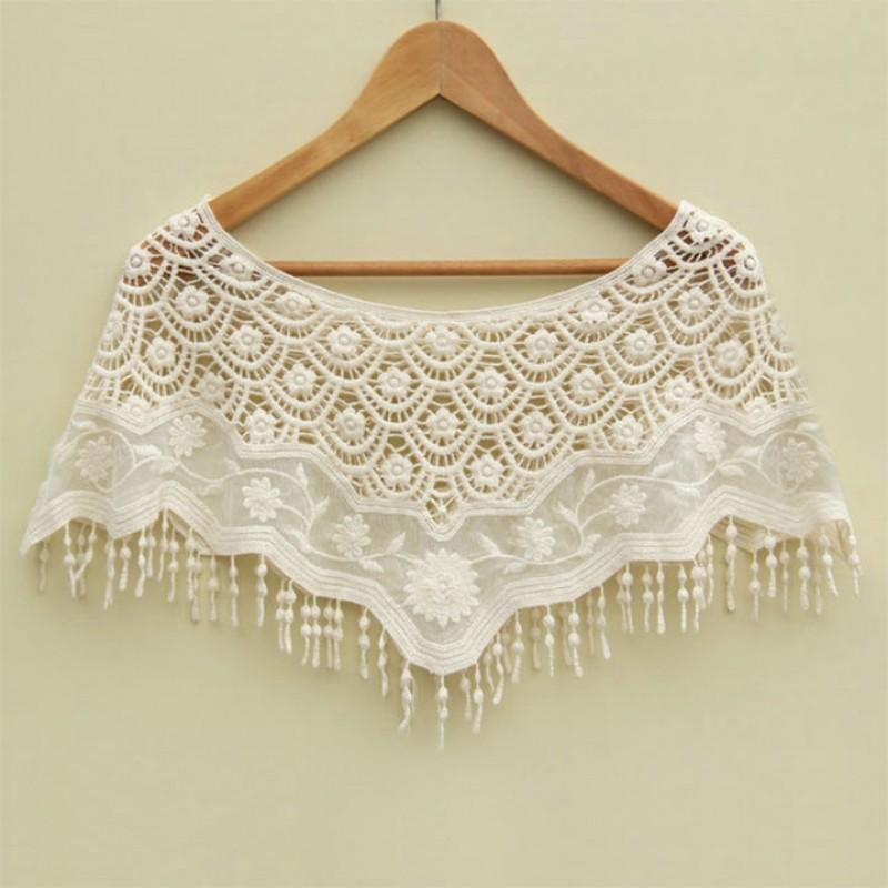 FINEJO 性感女性網鉤針鏤空蕾絲針織披肩