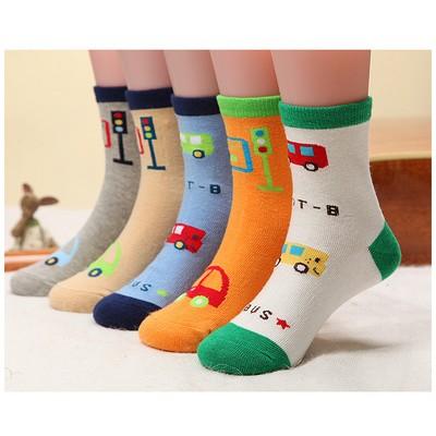 5 雙1 組兒童襪子純棉3 6 9 歲男童女童寶寶中筒襪棉襪中大童