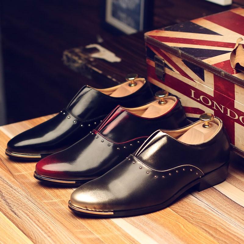 男士鉚釘擦色皮鞋發型師漆皮尖頭 鞋 夜店潮男鞋子