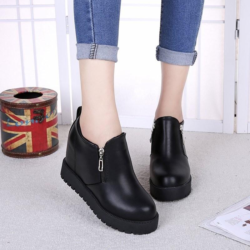 ~千惑衣閣~短靴女 女士棉靴平底內增高學生靴子女靴百搭黑色皮靴
