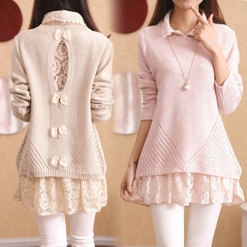 秋裝兩件套襯衫領蕾絲打底衫性感露背蝴蝶結針織衫中長款套頭毛衣