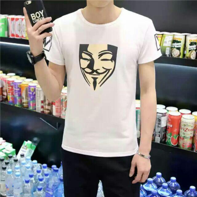 韓國潮牌 舒適 短袖T 恤男士圓領印花修身半袖上衣服裝休閒男裝