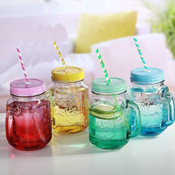 韓國 雙用漸層梅森瓶玻璃瓶玻璃杯450ml 附贈304 不鏽鋼吸管