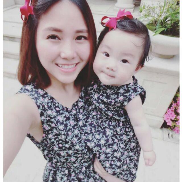 訂製高 可愛黑色碎花女童洋裝嬰兒洋裝有親子裝母女裝親子洋裝母女洋裝可當孕婦裝孕婦洋裝