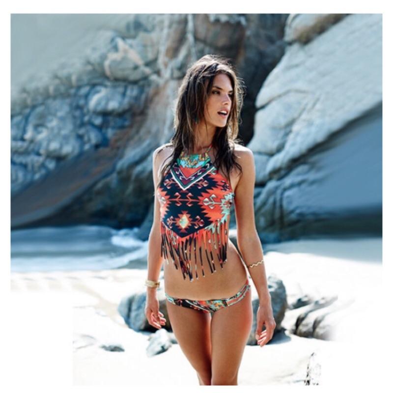 ZJ K bikini 超夯波西米亞顯瘦削肩流蘇比基尼泳衣防走光泳裝二件式比基尼泳衣維多利