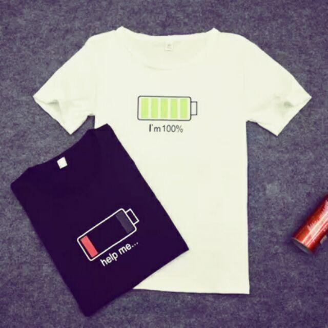 不用等附實穿電池情侶閨蜜T 恤電池衣電量衣上衣  情侶裝短袖上衣學生閨蜜