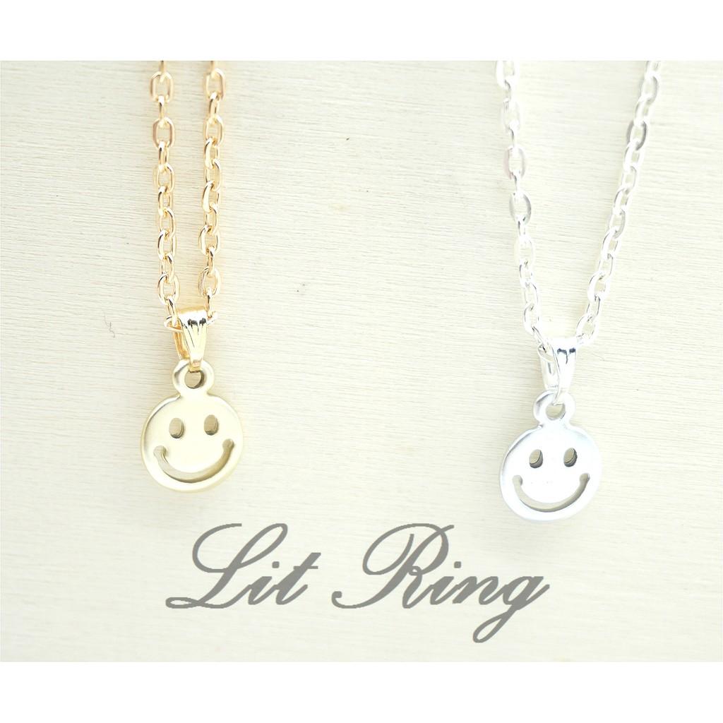 簡約笑臉項鍊~Lit Ring 手作金色銀色霧面 鏤空微笑墜子短項鍊鎖骨鍊 飾品~Lit