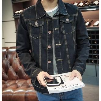 男士牛仔夾克衫學生衣服青少年修身厚外套潮加絨2016