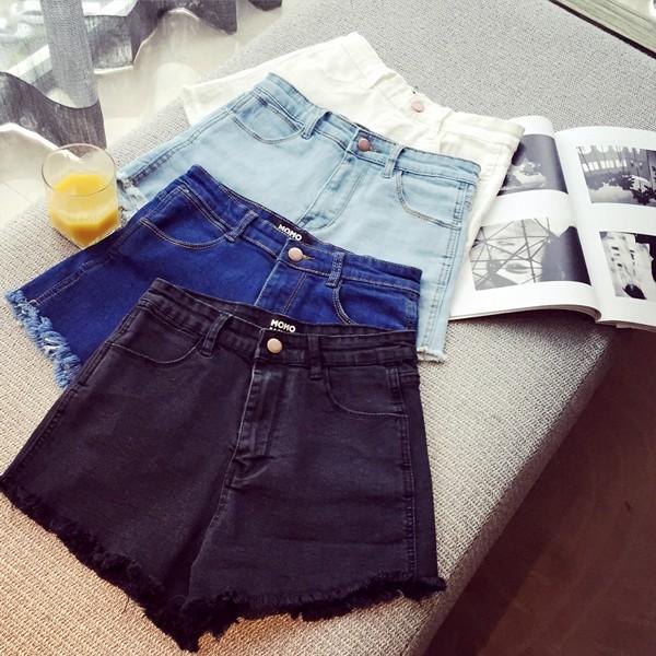 衝 附客人實拍春夏高腰百搭牛仔短褲白色淺藍深藍黑色磨破短褲 賣