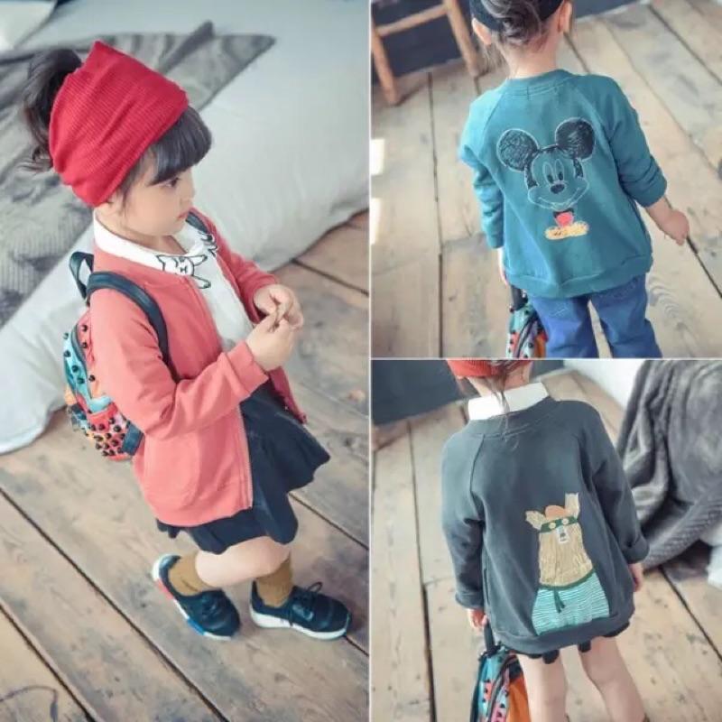 女童男童兒童小童寶寶可愛卡通圖案印花長袖立領外套夾克防曬外套薄款米奇大象