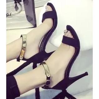 ~Catworld 女~馆~ 女鞋潮流超高跟女鞋細跟女式涼鞋磨砂絨面後包跟涼鞋灰色跟鞋尖頭