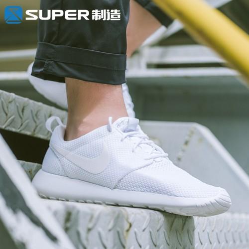 Nike Roshe Run 耐吉女鞋耐克男鞋 鞋全白小白鞋網面透氣網布慢跑鞋 輕便百搭跑