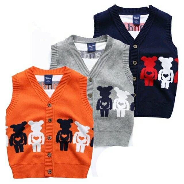 針織背心可愛小紳士小熊雙層加厚兒童中性毛衣鈕扣可開男寶女寶男童女童90 公分1 歲2 歲