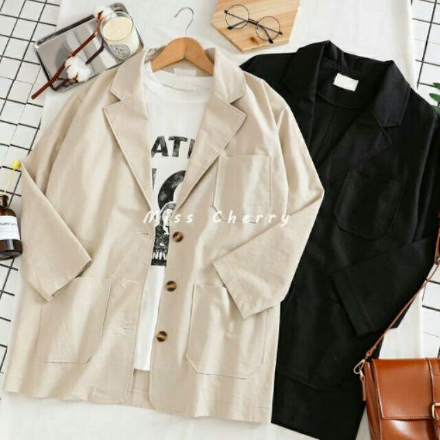 韓國復古英倫風百搭寬鬆顯瘦棉麻西裝外套中長款翻領風衣女學生潮